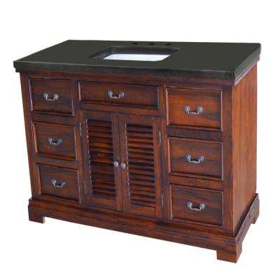 Solidified 48 in. W x 24 in. D Vanity in Teak with Black Vanity Top in Granite with White Basin
