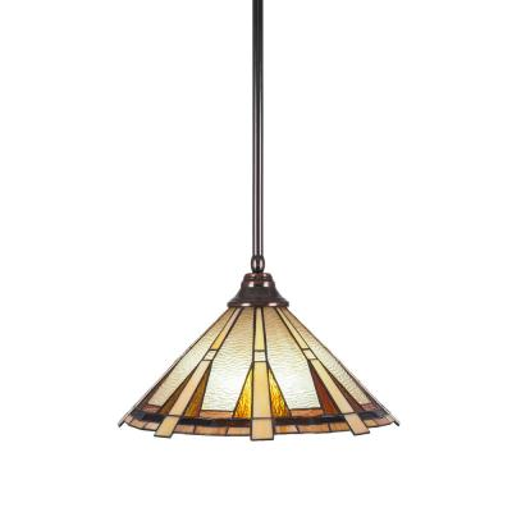 1-Light Black Copper Pendant with 16 in. Zion Tiff Glass
