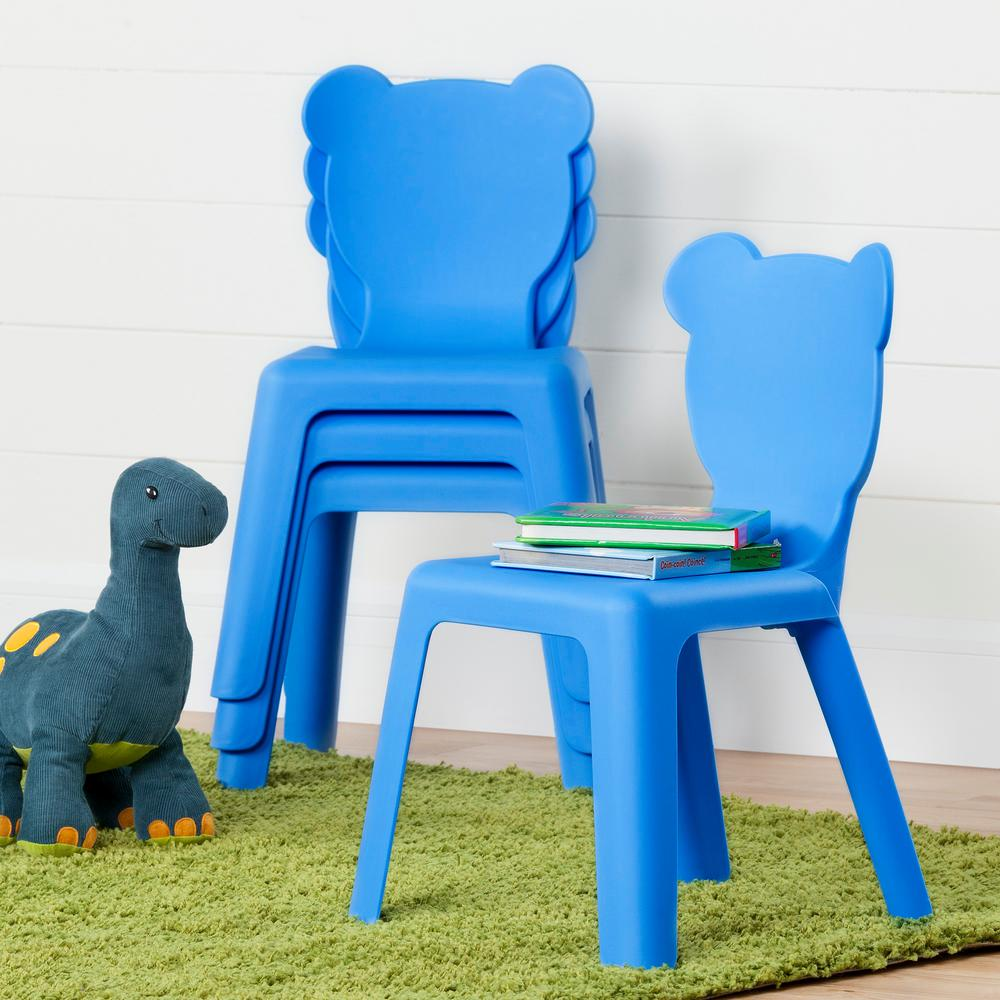 South Shore Crea Blue Plastic Stacking Kids Chair (Set Of 4)