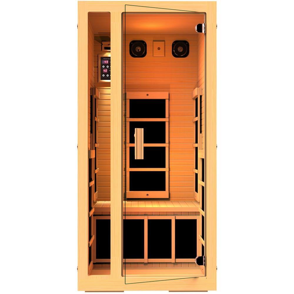 JNH Lifestyles Joyous 1-Person Far Infrared Sauna with 6 Carbon Fiber Heaters Easy Plug-N-Play and LED Lighting