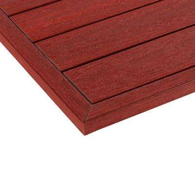 1/6 ft. x 13.95 in. Quick Deck Composite Deck Tile Outside End Corner Fascia in Swedish Red (2-Pieces/box)