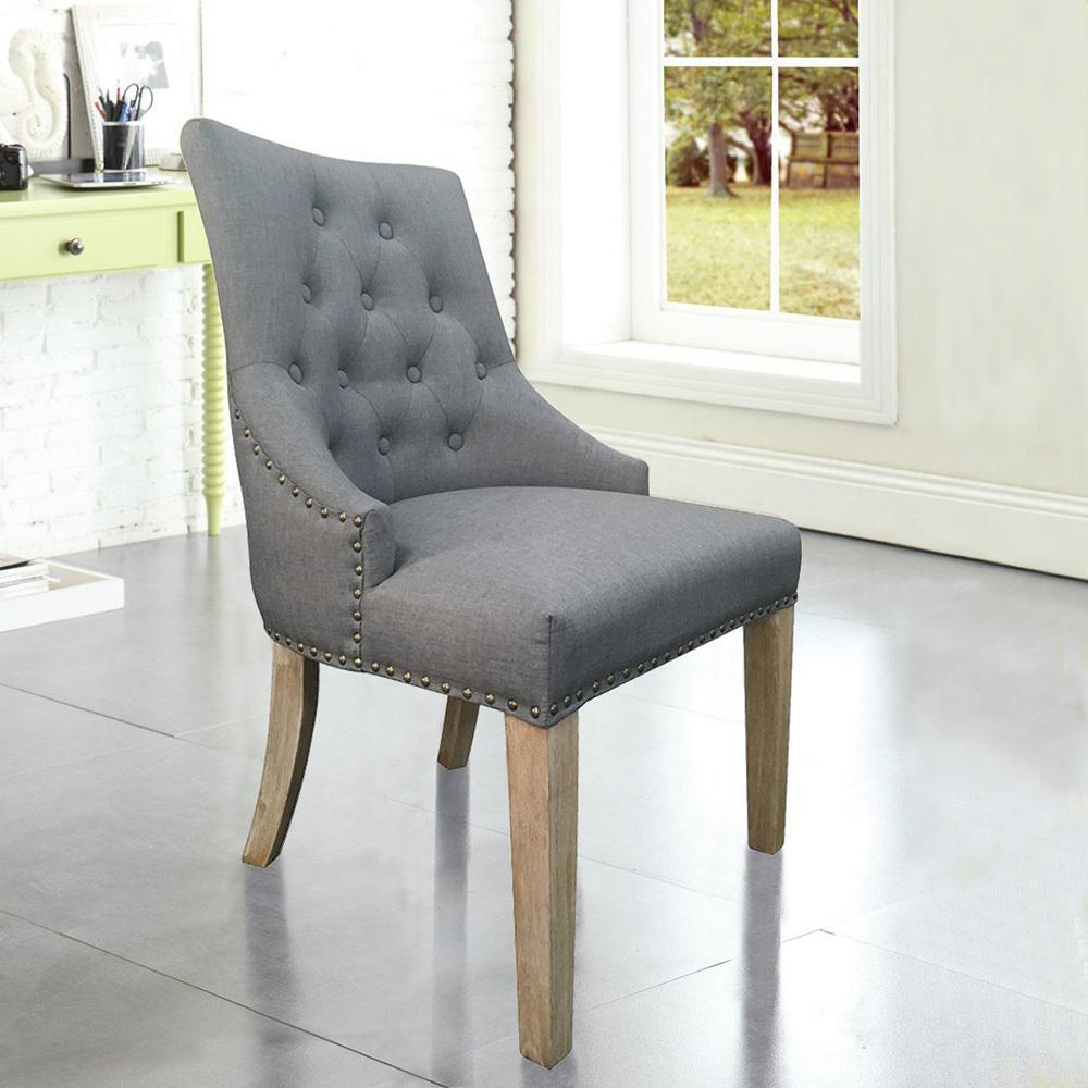 Grey Linen Sexy Back Dining Chair With Copper Nails (Set Of 2) DWC 506GY    The Home Depot