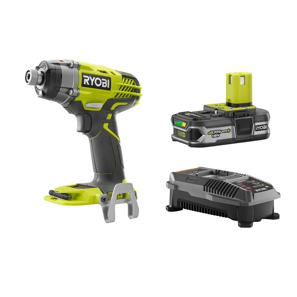Ryobi 18-Volt ONE+ Lithium-Ion Cordless 3-Speed 1/4 in. Impact Driver Kit with (1) 1.5 Ah Battery and Charger