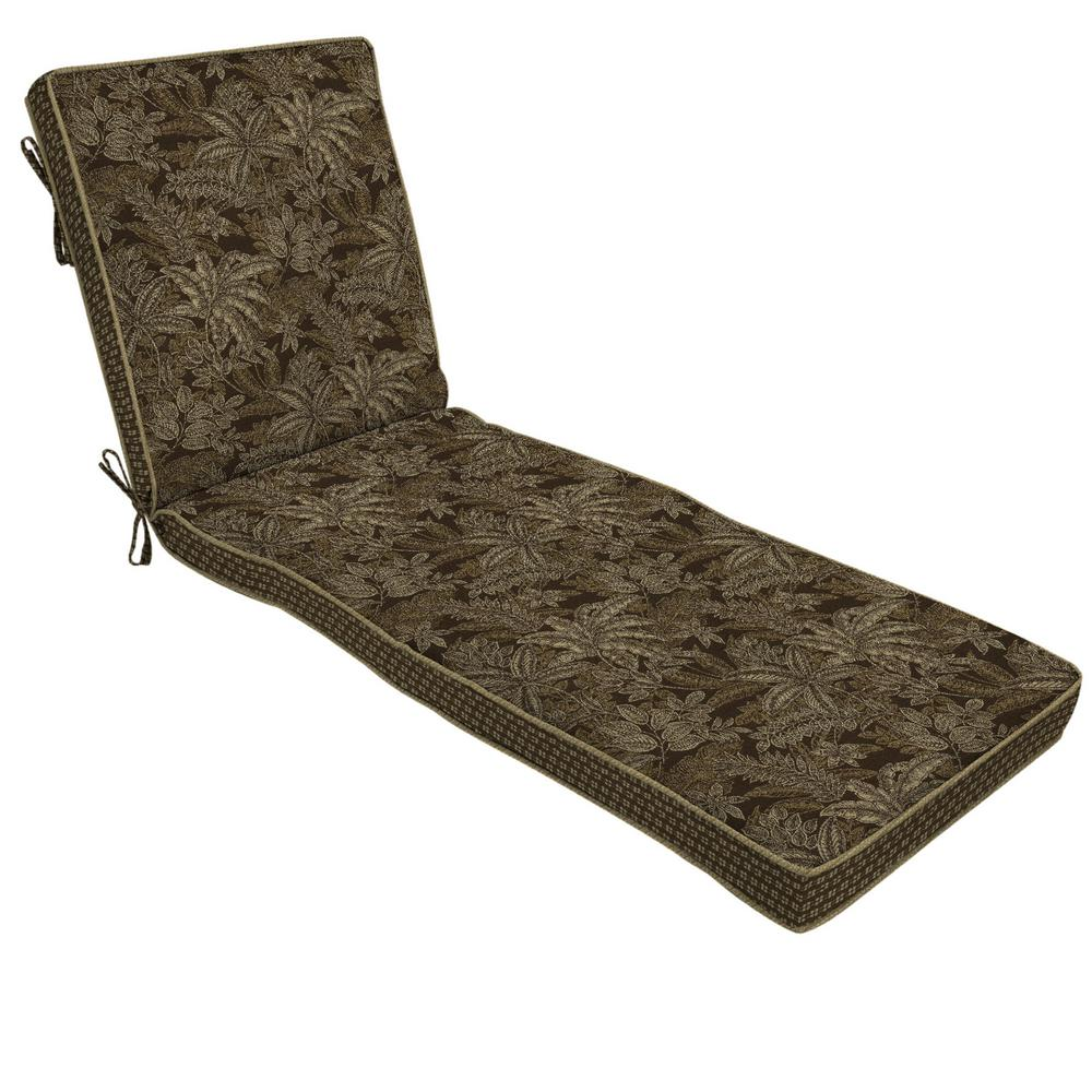 Palmetto Espresso Outdoor Chaise Lounge Cushion