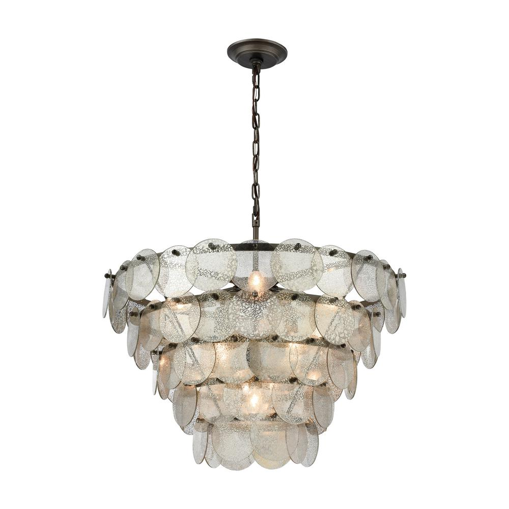 Titan Lighting Airesse 9 Light Brushed Slate Chandelier With Mercury Glass Shade
