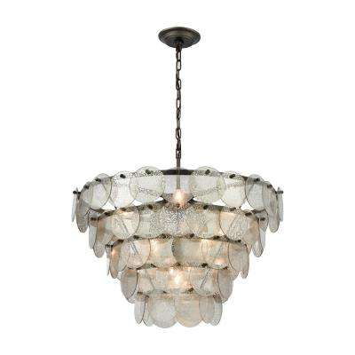 Airesse 9-Light Brushed Slate Chandelier with Mercury Glass Shade