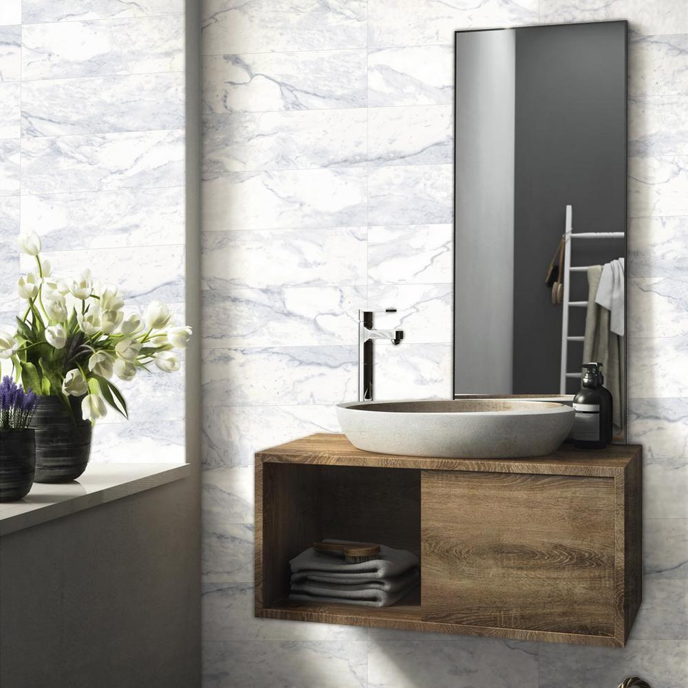 Classic Impressions Carrara 8 in. x24 in. Bullnose 8 in. Side Glossy Ceramic Trim Wall Tile