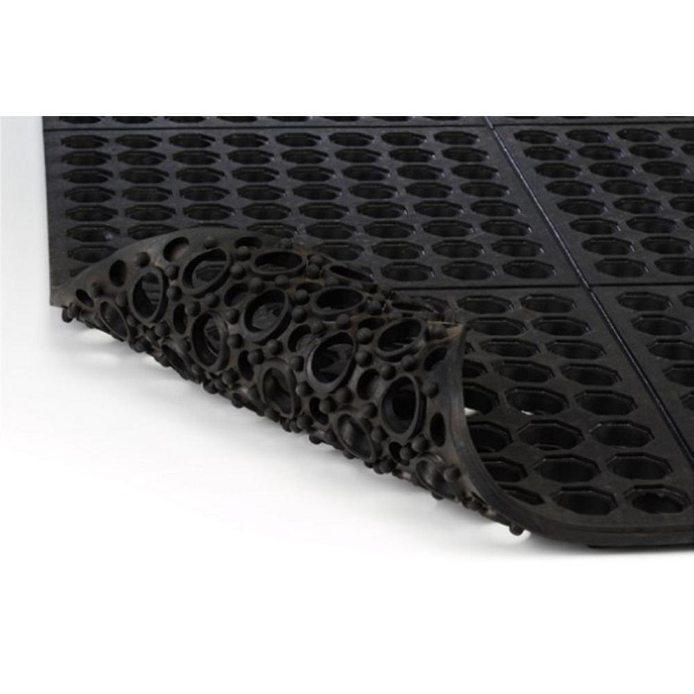 Industrial Floor Mats: Comfort Black 36 In. X 36 In. Modular Rubber Kitchen Mat