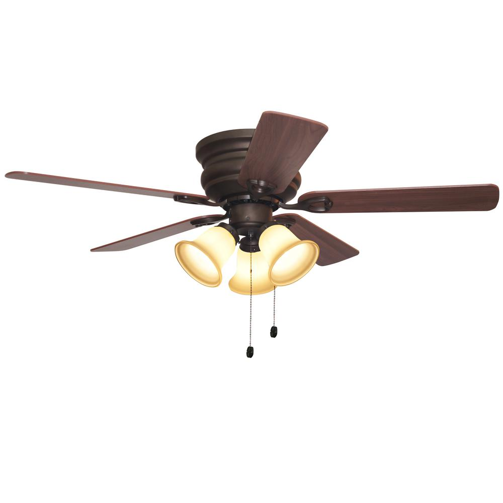 Parts Indoor Oil Rubbed Bronze Ceiling Fan With Light Kit Clarkston 44 In Home Garden Lamps Lighting Ceiling Fans