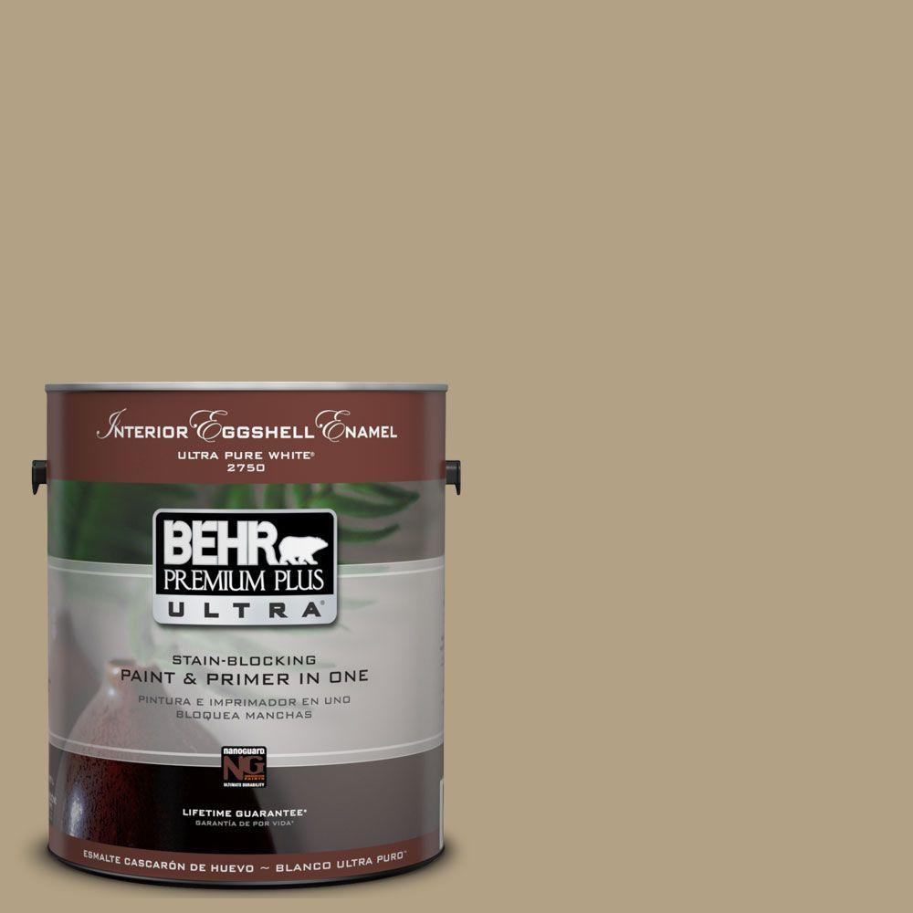 BEHR Premium Plus Ultra 1-Gal. #UL190-18 Chamois Tan Interior Eggshell Enamel Paint