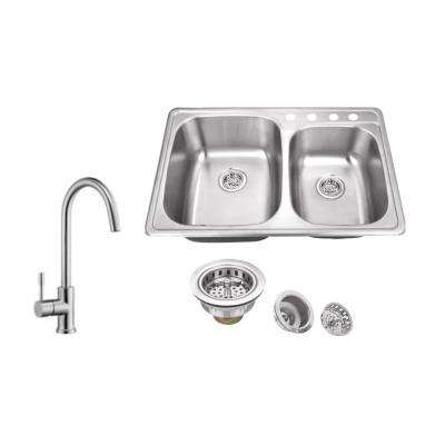 Drop-In 33 in. 4-Hole Stainless Steel Double Bowl Kitchen Sink in Brushed Stainless with Gooseneck Kitchen Faucet