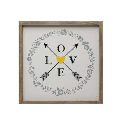 "14 in. x 14 in. ""Love & Arrows"" Framed Wall Art"