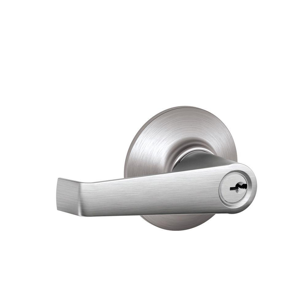 Schlage Elan Satin Nickel Light Commercial Keyed Entry Door Lever ...