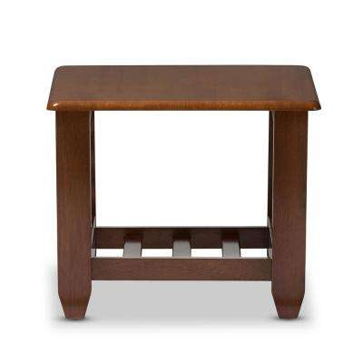 Larissa Medium Brown Wood Finished End Table