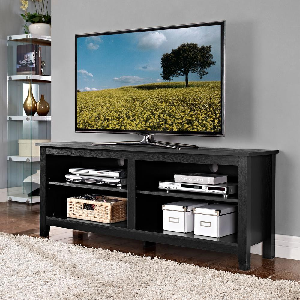 Walker Edison Furniture Company Essential Black Storage Entertainment Center