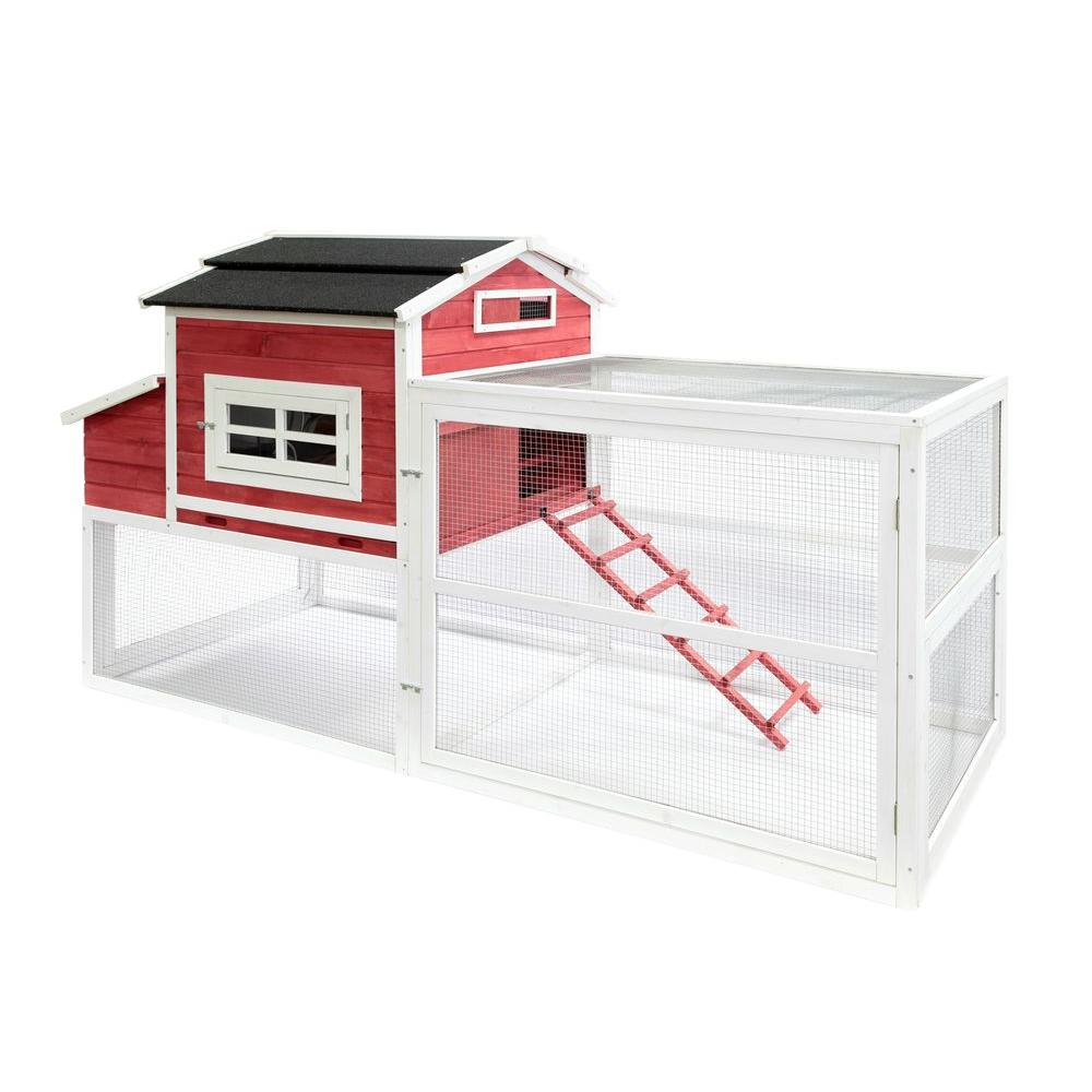 Home product 12 bird chicken coop - Summerhawk Ranch Extra Large Vintage Red Barn Chicken Coop 35049 The Home Depot