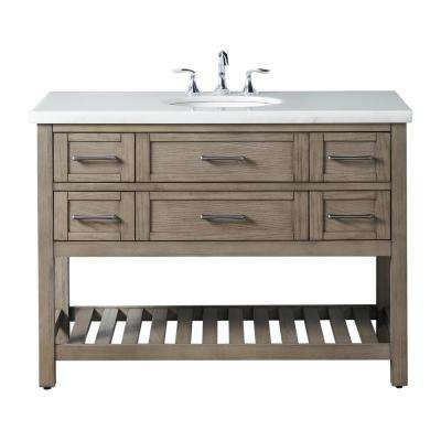 Wimsbury 47 in. W x 22 in. D Bath Vanity in Weather Oak with Marble Vanity Top in White with White Basin