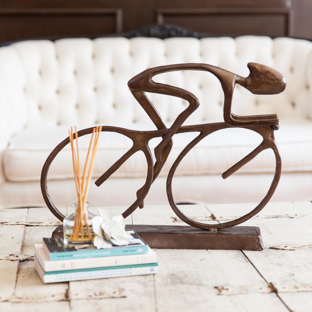 DANYA B Large Cyclist Cast Aluminum Sculpture ZL480L