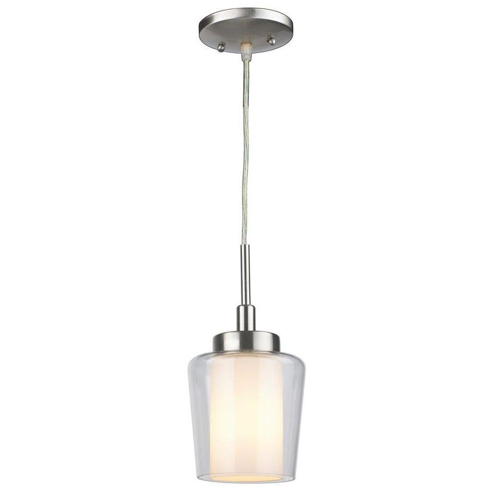 world imports 1 light brushed nickel mini pendant with glass shade es0009sba the home depot. Black Bedroom Furniture Sets. Home Design Ideas