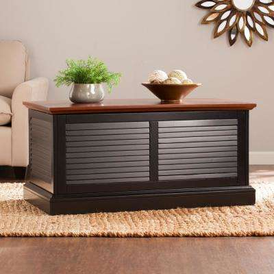 Courtland Black Louvered Trunk Cocktail Table
