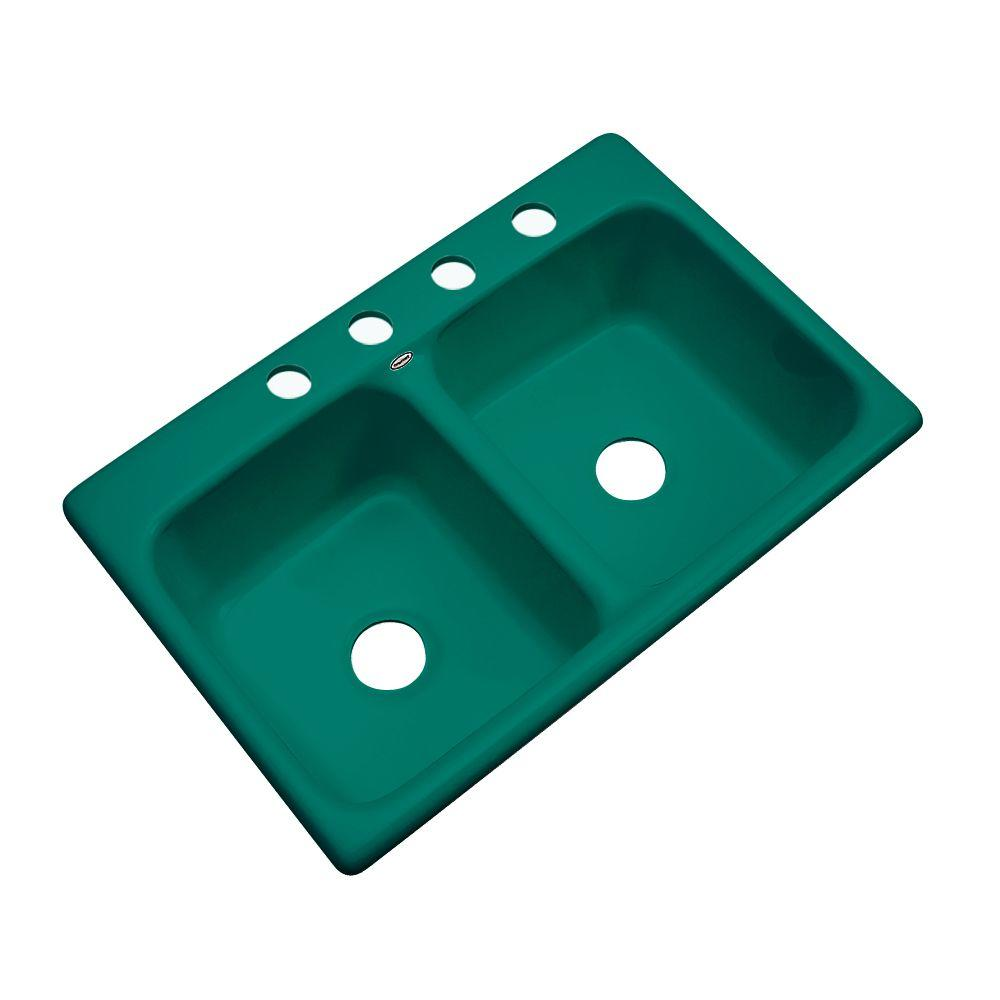 Thermocast Newport Drop-in Acrylic 33x22x9 in. 4-Hole Double Bowl ...