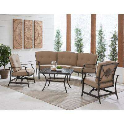 Traditions 4-Piece Aluminum Patio Conversation Set with Tan Cushions, Cast-Top Coffee Table, Sofa and 2-Rockers