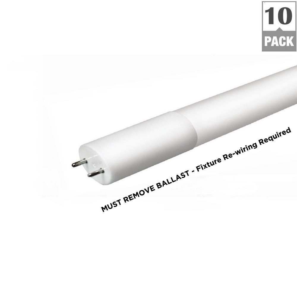 4 ft. 14-Watt T8 Non-Dimmable LED Linear Light Bulb Type B Bypass Double Ended Daylight 5000K (10-Pack)