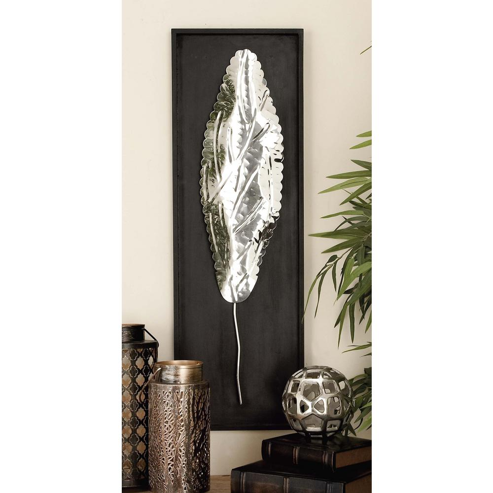 12 in. x 36 in. Stainless Steel Scalloped Leaf Wall Decor