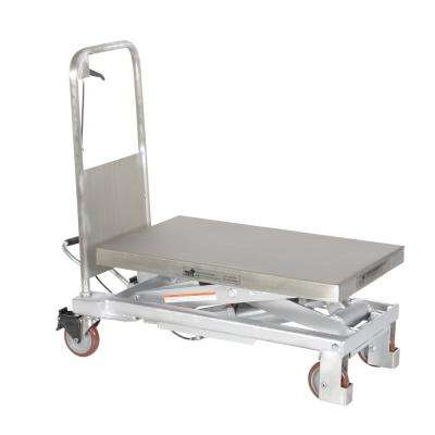 1,000 lb. 32.5 x 19.75 in. Partially Stainless Steel Scissor Cart