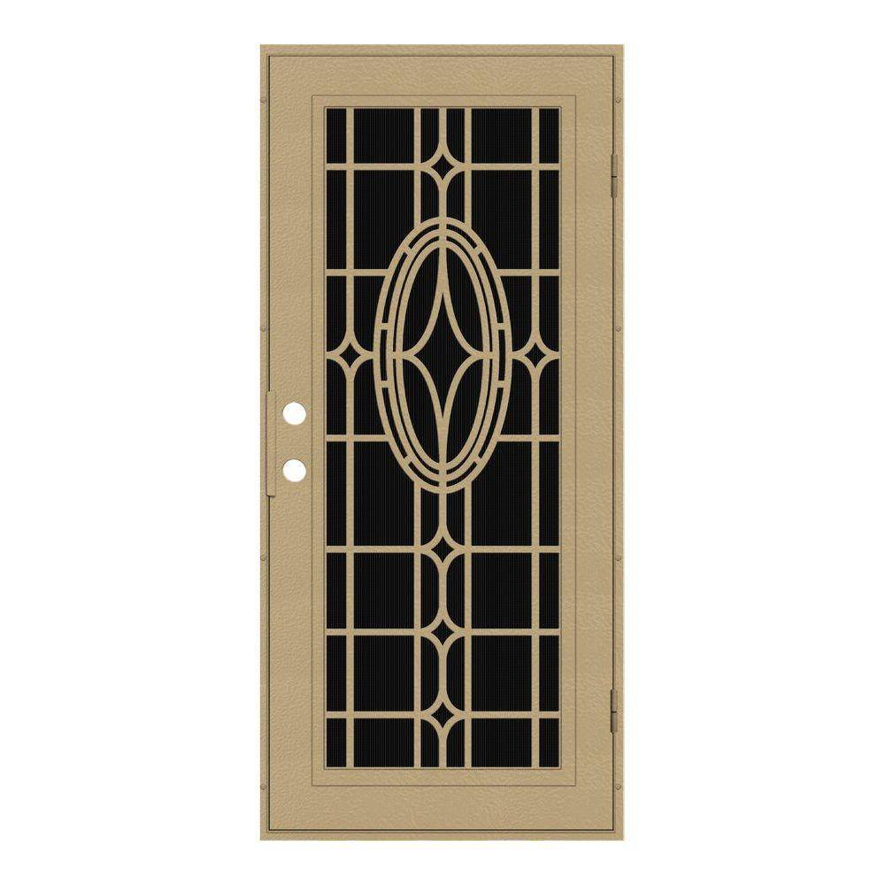 Unique Home Designs 32 in. x 80 in. Modern Cross Desert Sand Right-Hand Recessed Mount Aluminum Security Door with Charcoal Insect Screen