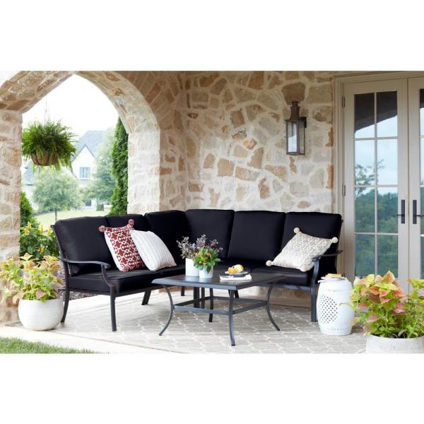 Redwood Valley Black 4-Piece Steel Outdoor Patio Sectional Sofa Set with CushionGuard Midnight Navy Blue Cushions