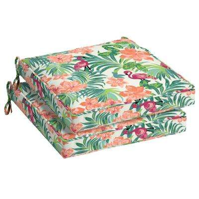 21 x 21 Luau Flamingo Tropical Outdoor Seat Cushion (2-Pack)