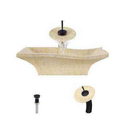 Stone Vessel Sink in Egyptian Yellow Marble with Waterfall Faucet and Pop-Up Drain in Antique Bronze