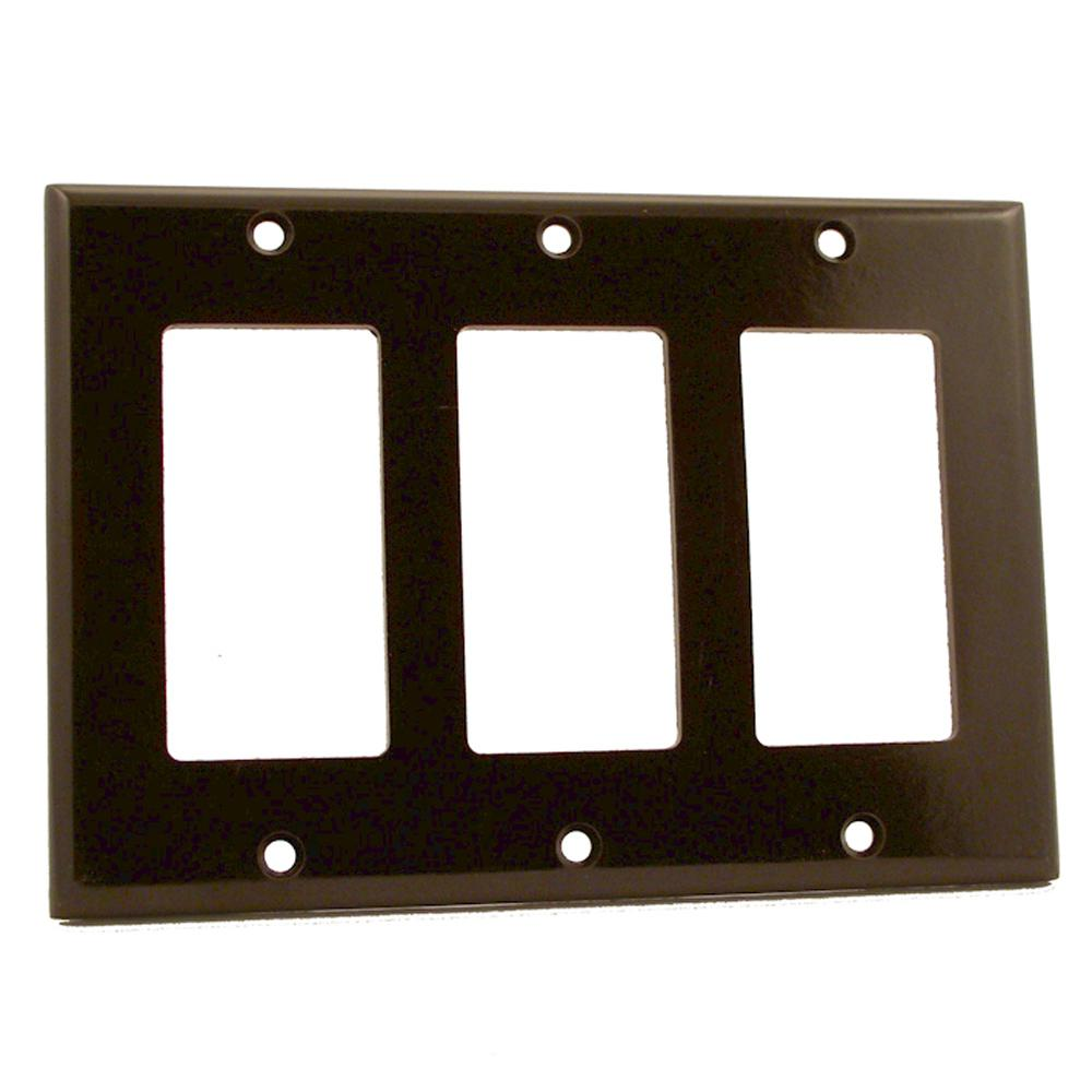 3-Gang Decora Wall Plate, Brown