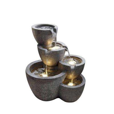 Multi Pots Fountain with 4 LED Lights