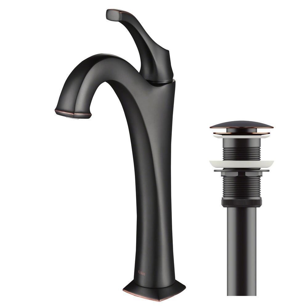 KRAUS Arlo Single Hole Single Handle Vessel Bathroom Faucet in Oil ...