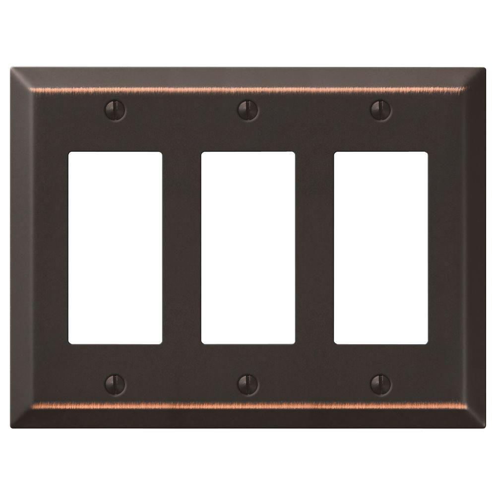 Hampton Bay Steel 3 Decora Wall Plate - Aged Bronze
