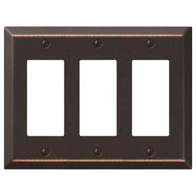 Steel 3 Decora Wall Plate - Aged Bronze