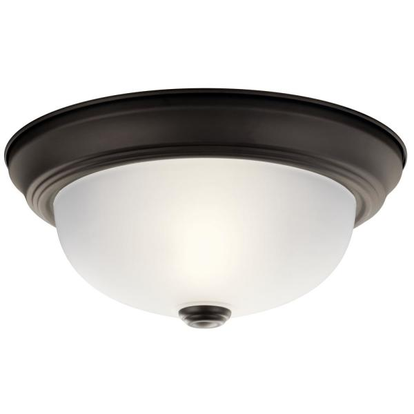 Independence 11.25 in. 2-Light Olde Bronze Flush Mount Ceiling Light with Stain Etched Glass