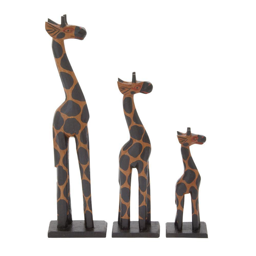 Elegant Wood Giraffe (Set of 3)
