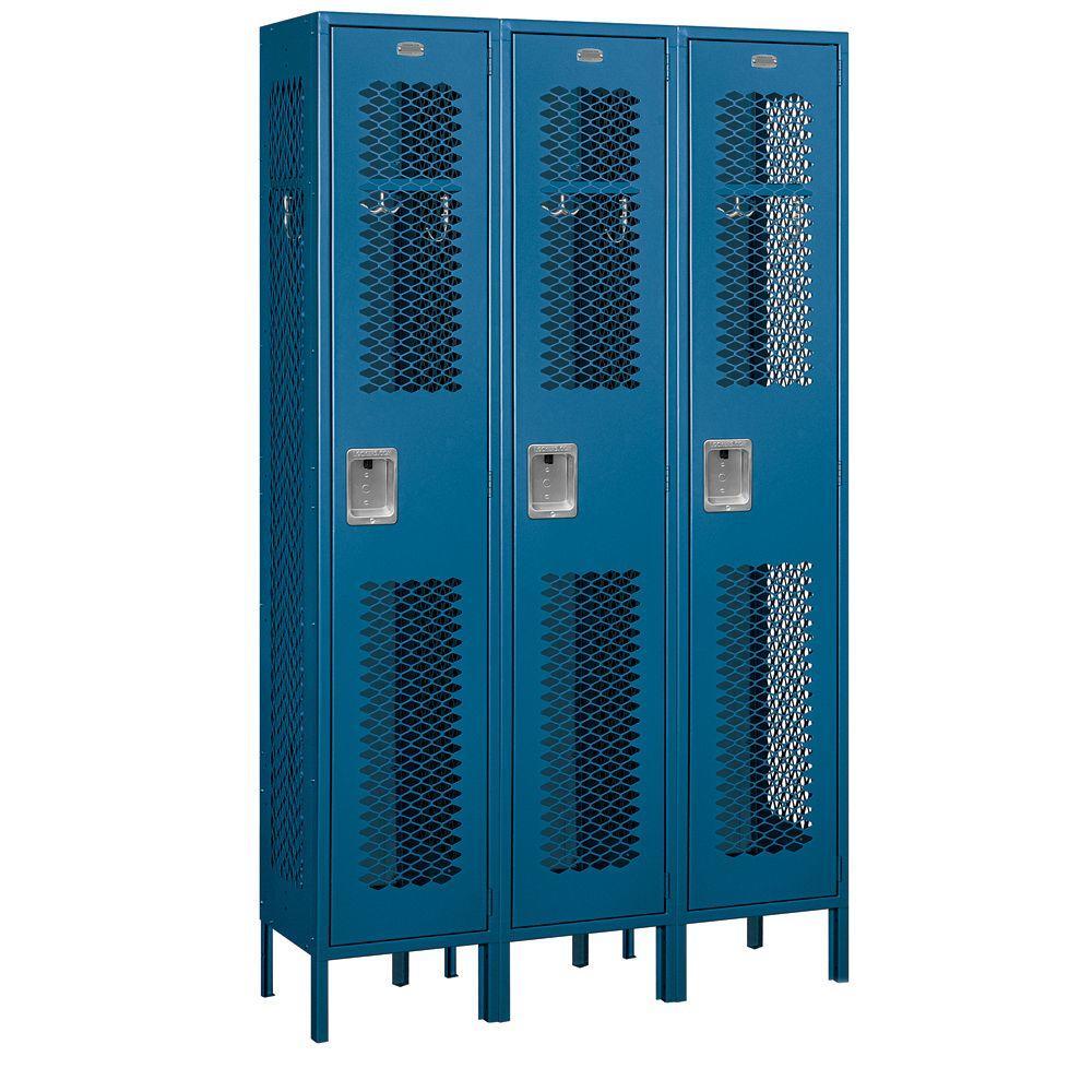 Salsbury Industries 81000 Series 45 in. W x 78 in. H x 15 in. D Single Tier Extra Wide Vented Metal Locker Unassembled in Blue