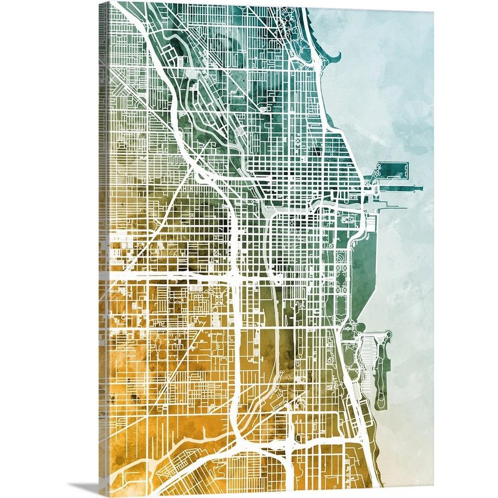 Chicago Map Canvas.Greatbigcanvas 18 In X 24 In Chicago City Street Map By Michael