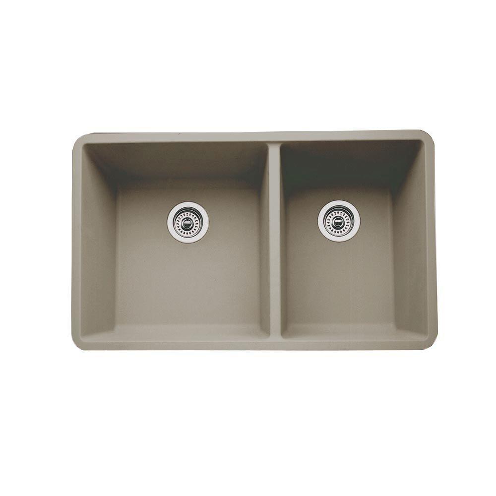 Precis Undermount Granite Composite 33 in. 0-Hole Double Bowl Kitchen Sink in Truffle
