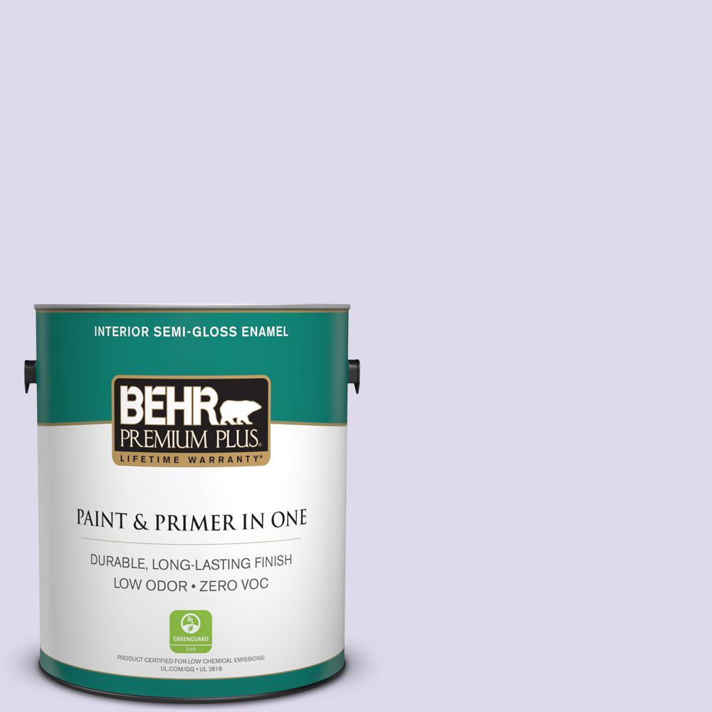 BEHR Premium Plus 1-gal. #640A-2 Misty Violet Zero VOC Semi-Gloss Enamel Interior Paint