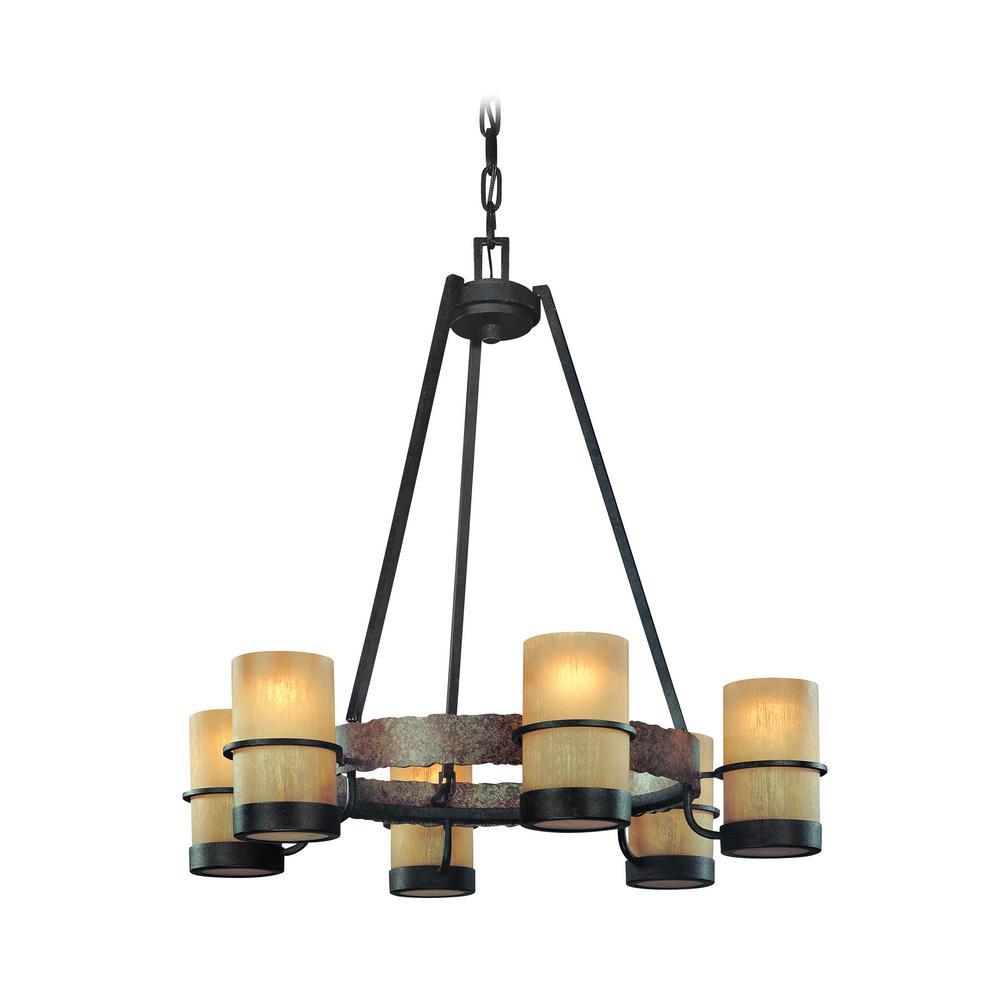Bamboo 6-Light Bamboo Bronze Chandelier with Bronze Glass Shade