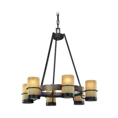 Bamboo 6-Light Bamboo Bronze Chandelier with Bronze Glass Shade