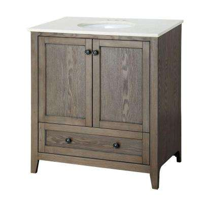 Brentwood 31-1/2 in. W x 19 in. D Bath Vanity in Driftwood with Engineered Stone Vanity Top in Cream