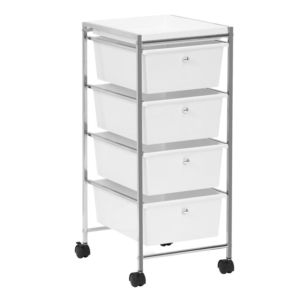 Wayar 4-Shelf Chrome 4-Wheeled 4-Drawer Storage Cart in White