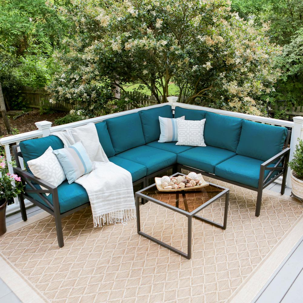 Leisure Made Blakely Black 5 Piece Aluminum Outdoor Sectional Set With  Peacock Cushions