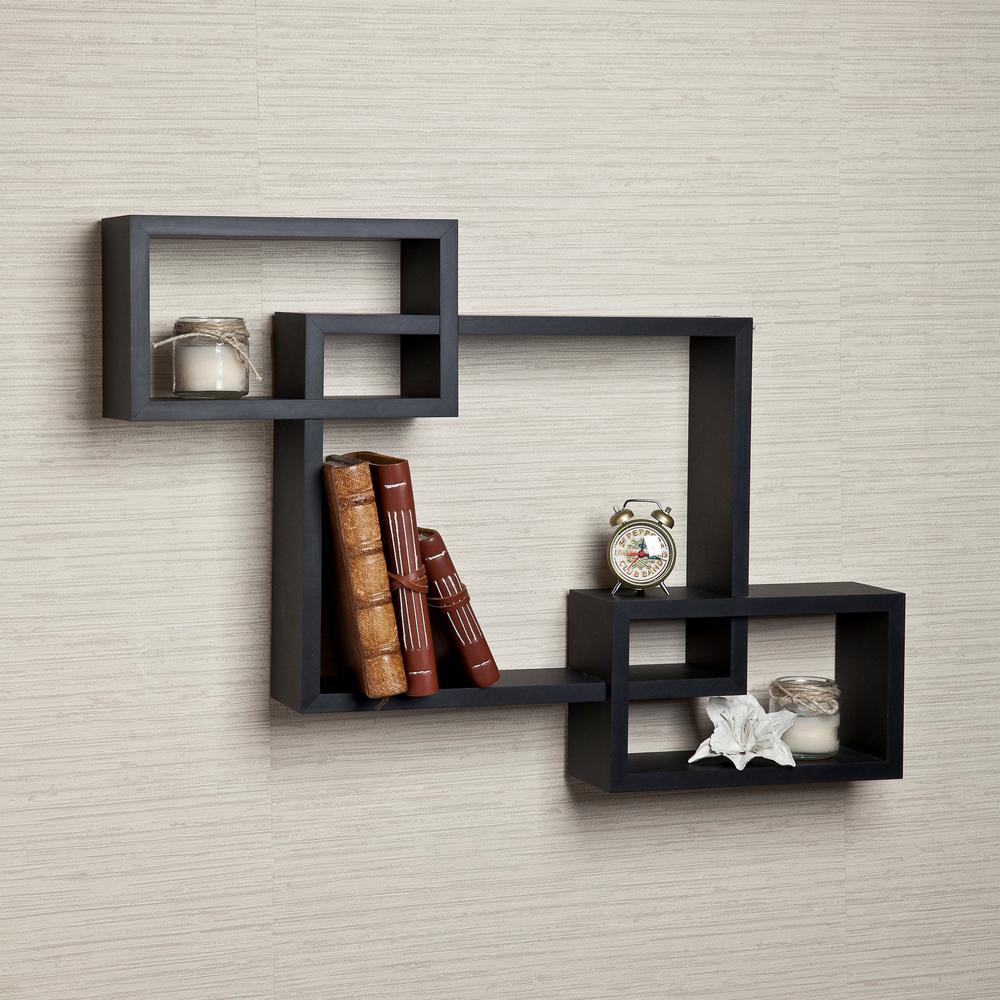 26.5 in. x 19 in. Black Laminated Intersecting Squares Floating Shelf